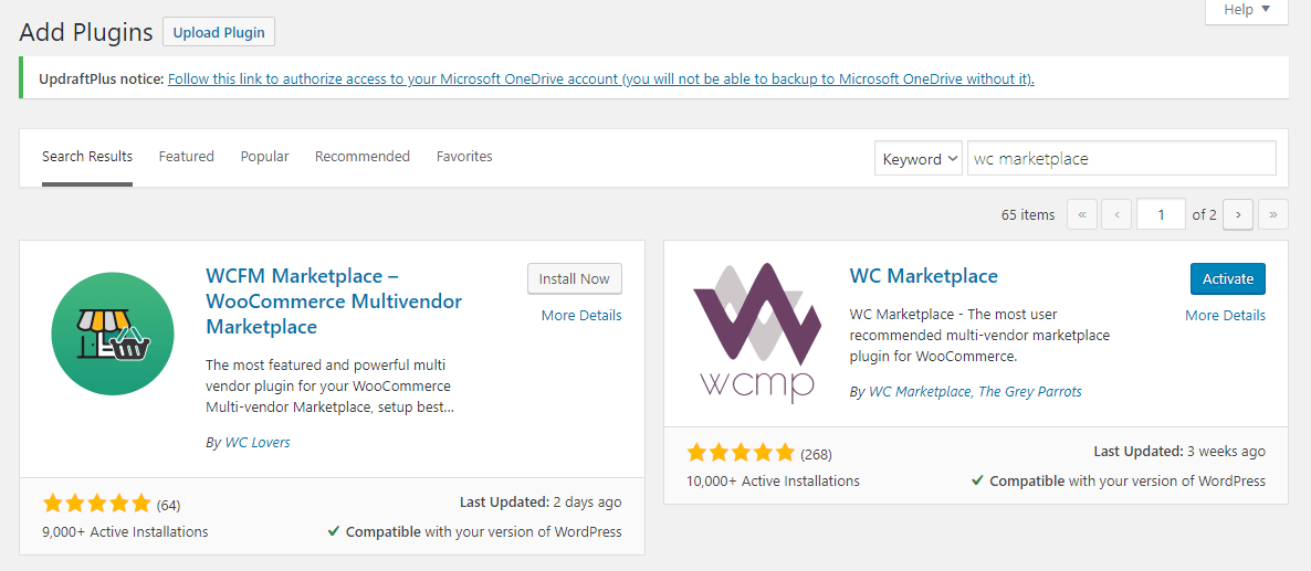 woocommerce wc marketplace install activate